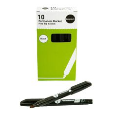 WS Permanent Marker Fine Black 10 Pack