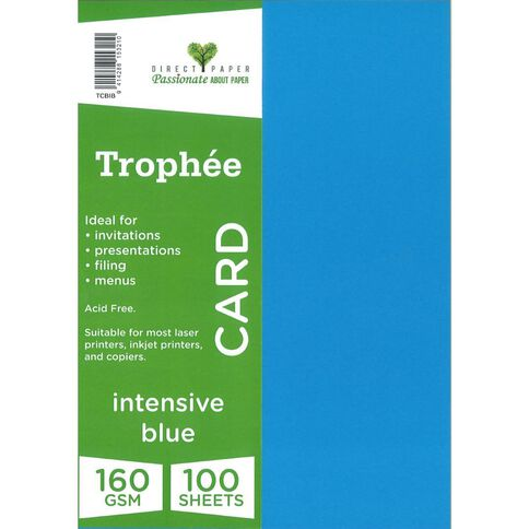 Trophee Card 160gsm 100 Pack Intensive Blue A4