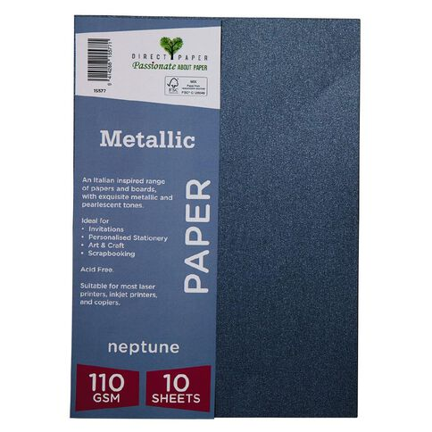 Direct Paper Metallic 110gsm 10 Pack Neptune A4