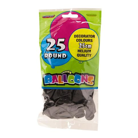 Meteor Balloons Round 25 Pack Black 25cm
