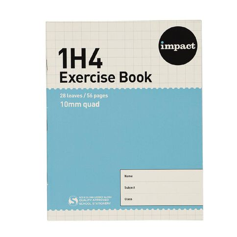 WS Exercise Book 1H4 10mm Quad 28 Leaf Blue