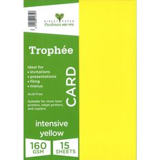Trophee Card 160gsm 15 Pack Intensive Yellow A4