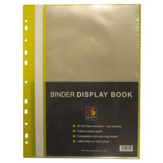 GBP Stationery Binder Display Book 20 Pocket Yellow A4