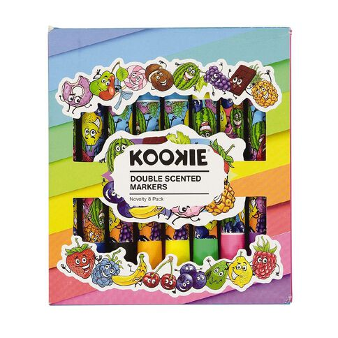 Kookie Novelty Markers Double Ended Scented 8 Pack Fruits Multi-Coloured