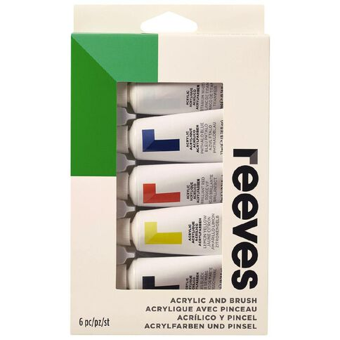 Reeves Acrylic Primary Colours Paint Set 5 x 22ml With Brush