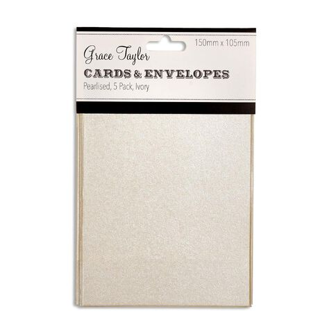 Grace Taylor Cards & Envelopes 15 x 10cm 5 Pack Pearl White Ivory