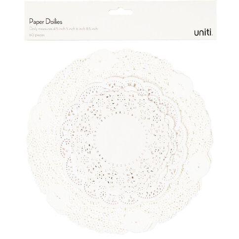 Uniti Doilies 60 Pack White