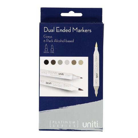 Uniti Dual Ended Markers Greys 6 Pack