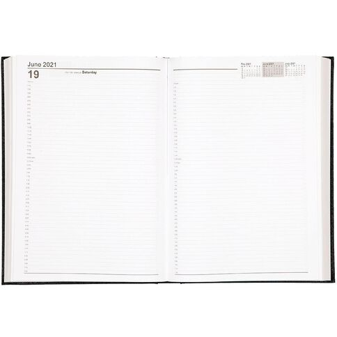 WS Diary 2021 2 Pages Per Day Black A4 Black A4