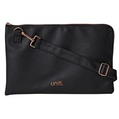 Uniti Rose Gold Faux Leather Document Case Black A4
