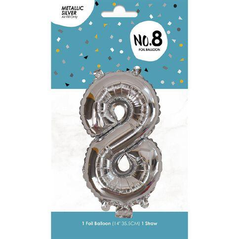 Foil Balloon #8 Silver 35cm
