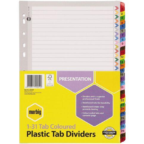Marbig Plastic Tab Coloured Dividers 1-31 Tab