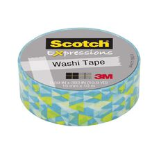 Scotch Washi Craft Tape 15mm x 10m Techno Blue