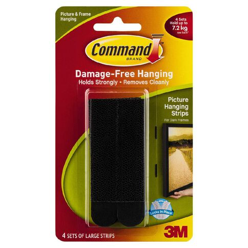 Command Large Picture Hanging Strips 4 Pack Black