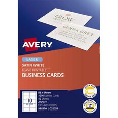 Avery Satin Finish Business Cards White 100 Cards