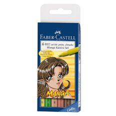 Faber-Castell Pitt Artist Pens Manga Kaoiro 6 Pack