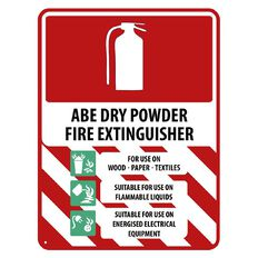 WS ABE Dry Powder Extinguisher Sign Large 600mm x 450mm