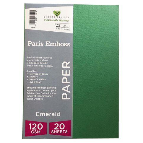 Direct Paper Paris Emboss 120gsm A4 20 Pack Emrald