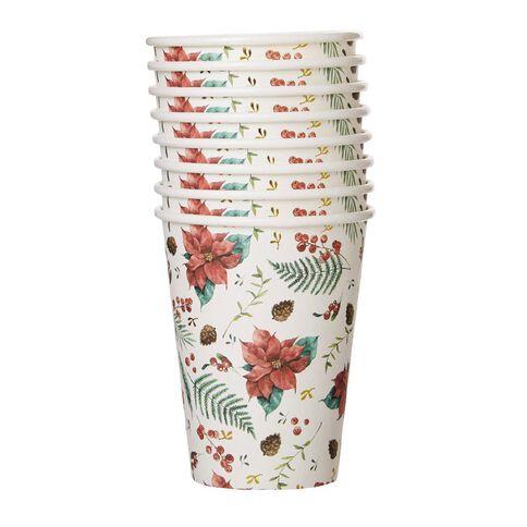 Wonderland Poinsettia Foil Cups 350ml 8 Pack