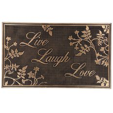 Living & Co Live Laugh Love Metallic Door Mat Bronze 45cm x 75cm