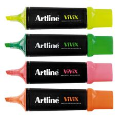 Artline Vivix Highlighters 4 Pack Multi-Coloured 4 Pack