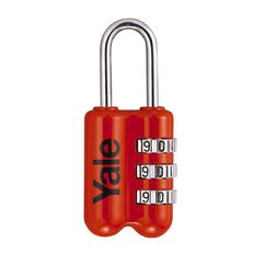 Yale Travel Padlock 3 Wheel Red 23mm