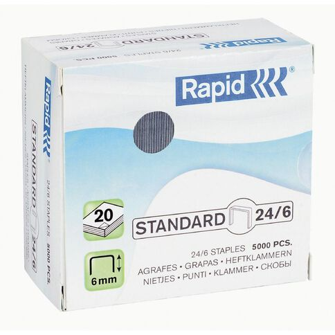 Rapid Staples 24/6 5000 Pack Silver