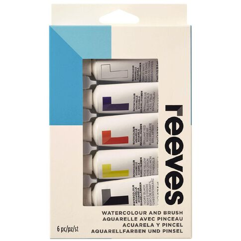 Reeves Watercolour Paint & Brush Set 5 Pack Multi-Coloured