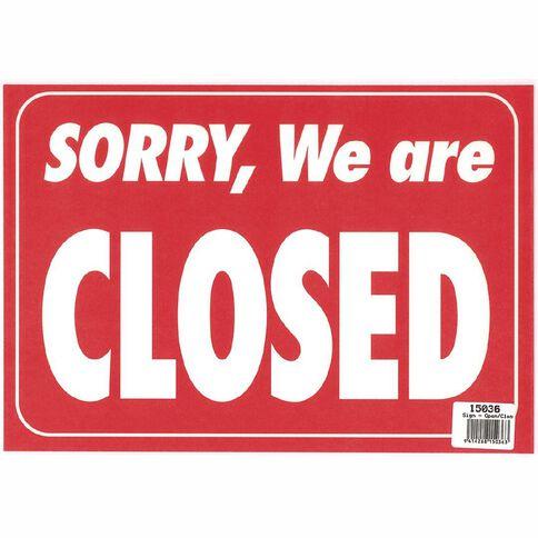 Sign Open/Closed 28 x 20.6cm Blue