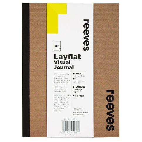 Reeves Visual Journal Layflat Kraft A5 30 Sheets Brown