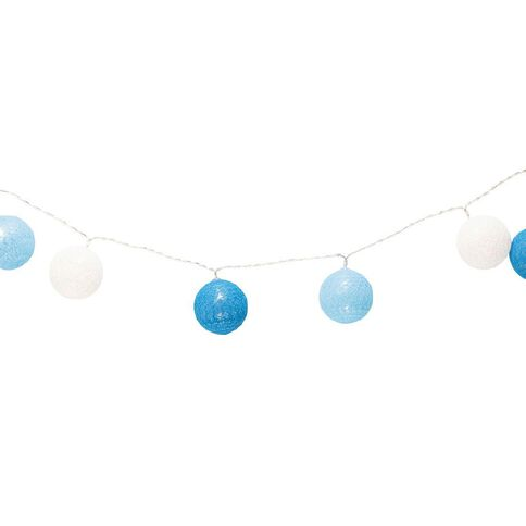 Party Inc Battery Operated Cotton Ball String Lights 10 LED Blue
