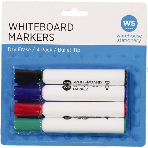 WS Whiteboard Markers Bullet 4 Pack Assorted