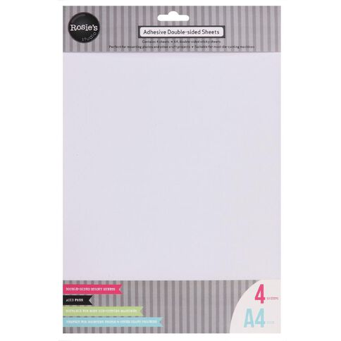 Rosie's Studio Double Side Adhesive Sheet 4 Pack White A4