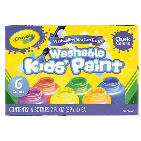 Crayola Washable Paints Colours Assorted Assorted 6 Pack