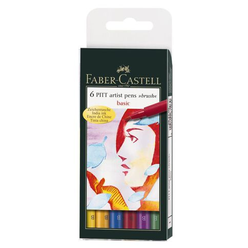 Faber-Castell 6 Pitt Artist Brush Pens Basic