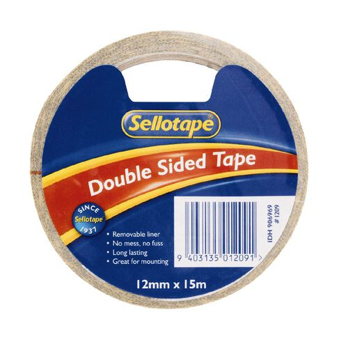 Sellotape Double Sided Tape 12mm x 15m Single Clear