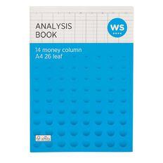 WS Analysis Book Limp 14 Column Green A4