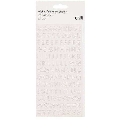 Uniti Alphabet Foam Stickers Mini Glitter White