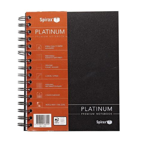 Spirax Notebook 401 Platinum Black A5