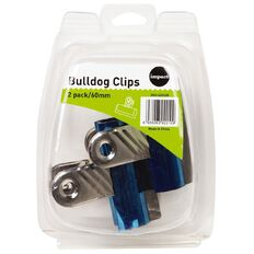 WS Bulldog Clips 60mm 2 Pack Blue