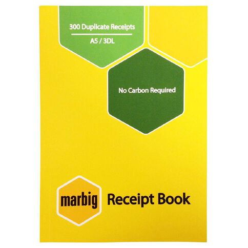Marbig Receipt Book 3-Up 300R Duplicate Yellow A5