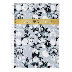 Uniti Fun & Funky Q3 Hardcover Spiral Notebook Flower Grey A4