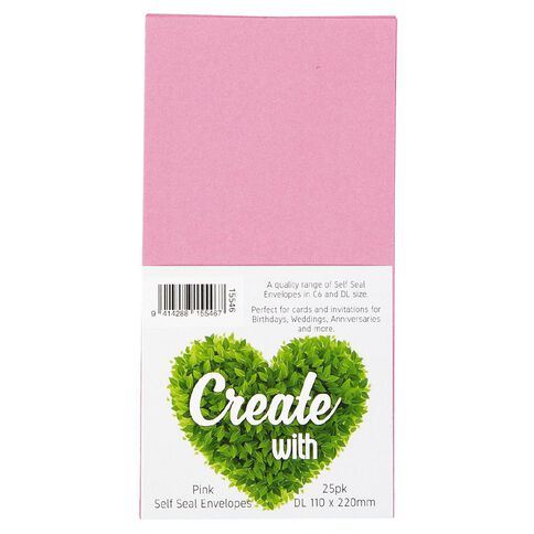 Create With DL Envelope 25 Pack Pink