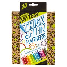 Crayola Art With Edge Thick & Thin Markers 20 Pacck