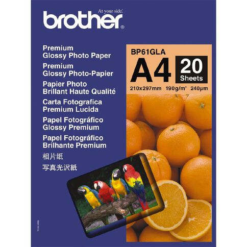 Brother Photo Paper BP61GLA Glossy 190Gsm A4 20 Pack