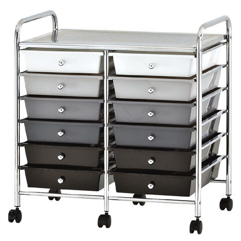 Workspace 12 Drawer Chrome Trolley Black