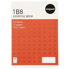 Impact Exercise Book 1B8 7mm Ruled 36 Leaf Red