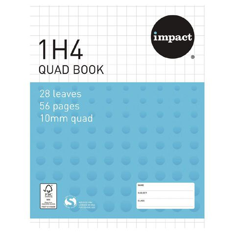 Impact Exercise Book 1H4 10mm Quad 28 Leaf Blue