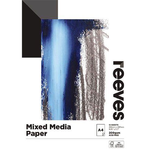 Reeves Mixed Media Pad 200gsm 15 Sheets A4