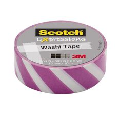 Scotch Washi Craft Tape 15mm x 10m Pastel Lines Purple